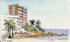 Rene Fijten from the Netherlands - nice job, Rene! Urban Sketchers: The Spanish seafront in winter
