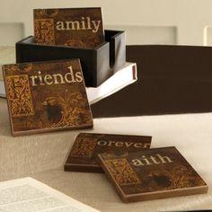Faith, Family, Friends, Forever 5-piece Coaster Set