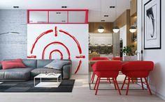 Modern interior / by Zikzak #modern apartment #design #interiordesign #designer #home #decor #inspiration #interieurstyling #decoration #red accents