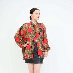 Vintage 90s Oscar De La Renta Blouse - Floral + Leopard Print Silk Blouse - Collared Button Up Oversize Shirt   by SHOPPOMPOMVINTAGE