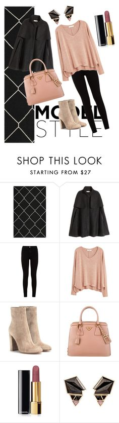 """""""Untitled #5"""" by unicornpurple1 ❤ liked on Polyvore featuring mode, Safavieh, H&M, 7 For All Mankind, MANGO, Gianvito Rossi, Prada, Chanel et Nak Armstrong"""