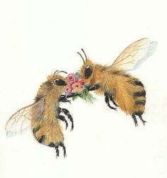 let it bee! Honey bees are so round, their honey so healthy! Art And Illustration, Buzzy Bee, I Love Bees, Drawn Art, Cute Bee, Bee Art, Save The Bees, Bee Happy, Bees Knees