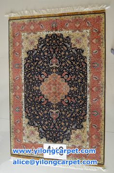 hand knotted silk carpet. size: 4*6 ft -122*183 cm
