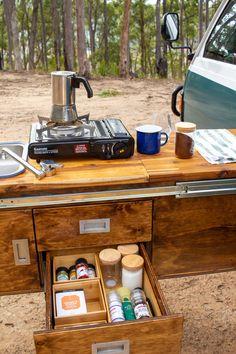 Camper Van Kitchen, Camper Van Life, Camper Caravan, Campers, Camper Van Conversions, Van Bed, Van Storage, Transit Camper, Minivan Camping