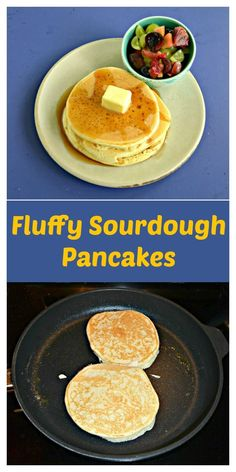 Looking for a recipe to use your sourdough discard? Try these Fluffy Sourdough Pancakes! #sourdoughrecipes #pancakerecipes #breakfastrecipes   Breakfast Recipes   Pancake Recipes   Sourdough Recipes  