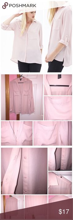 """Woven Pocket Shirt Never worn; just washed. Color is a dusty pink shade. Lightweight. Two chest pockets. Button tab long sleeves. Button front and basic collar. Vented hem. Unlined. 100% polyester. Bust is approx 40"""". Length in front is approx 25"""" and back is approx 27"""". ❌NO TRADES❌ Forever 21 Tops Button Down Shirts"""