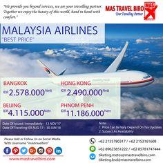 Dapatkan promo penerbangan Bangkok, Hong Kong, Beijing, dan Phnom Penh. Dengan MALAYSIA AIRLINES dengan harga lebih hemat. Tiket Pesawat MALAYSIA AIRLINES. Pesan sekarang hanya di MAS Travel Biro   #mastravelbiro #promotravel #travelagent #tourtravel #tourtravelmurah #travelservices #tiketpesawat #travelindonesia #opentrip #familytour #malaysiaairlines