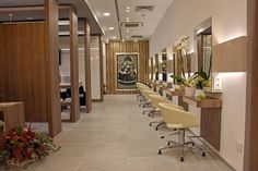 Balance, good taste and quality are some of the strengths of Alex Jordán ladies' hairdressing salon at El Corte Inlgés Colón in Valencia.   #Gayafores' Sandstone collection in Ocre shades perfectly merges with the wood and decorative elements giving rise to a space that invites relax and recreation in a unique environment.  #ceramics #tiles #interiordesign #flooring #projects #storedesign #contract #inspiration