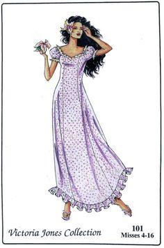 Semi-fit Ankle Length Dress w//Ruffled Hem 4-16 Victoria Jones Sewing Pattern 101