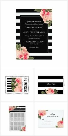 Stripes and Peonies Wedding Invitation Set Collection | Black and White, pink floral | RSVP, Save the Date, Thank You, postage