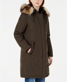 Vince Camuto Hooded Faux-Fur-Trim Down Parka - Loden Down Parka Women, Coats For Women, Clothes For Women, Cold Weather Fashion, Plus Size Designers, Plus Size Shopping, Women's Socks & Hosiery, Fur Trim, Trendy Plus Size