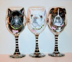 Pet Portraits Custom Hand Painted Set of 3 by SharonsCustomArtwork