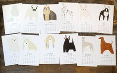 2014 Dog Calendar with Display Easel  Ready to Ship by Gingiber, $22.00