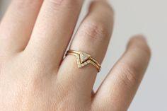 Trillion Diamond Ring & Pave Diamond V ring Wedding by artemer
