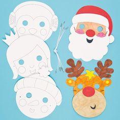 Pre-printed cardboard masks in 6 assorted Christmas character designs - Santa, Reindeer, Fairy, Elf, Penguin and Snowman