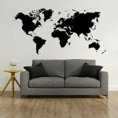 Wallstickers med et stort og flot Verdenskort. Meget detaljeret Love Seat, Couch, Furniture, Design, Tapas, Home Decor, Baking, Velvet, Settee
