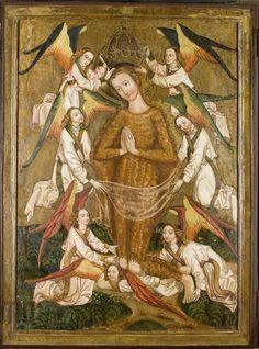 Św. Maria Magdalena unoszona przez 7 aniołów. Retabulum ołtarzowe z kościoła w Moszczenicy Niżnej - korpus, ok. 1480