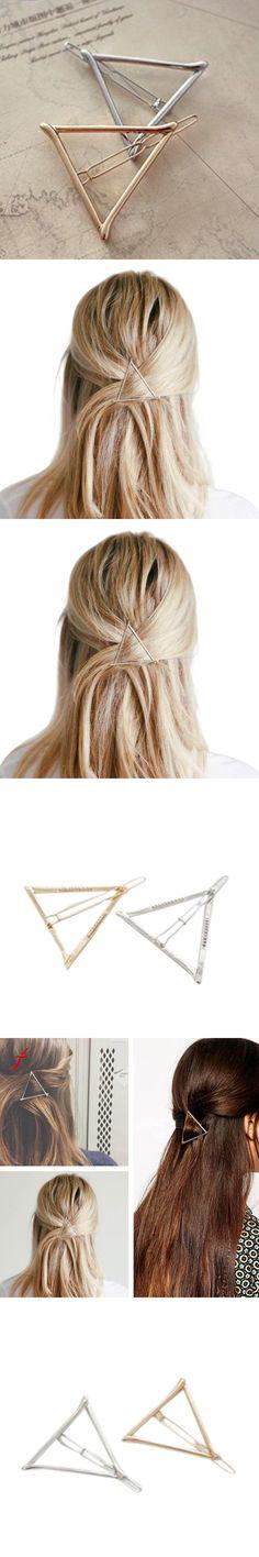Hairpins Triangle Minimalist Dainty Gold Silver Hollow Geometric Metal Hairpin Hair Clip Hair Pin Women  Head Accessories 2017