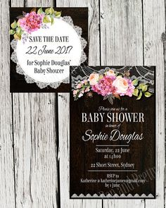 Baby Shower Digital invitation and Save the Date  Timber