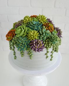 The frosting on this succulent cake : succulents Pretty Cakes, Cute Cakes, Beautiful Cakes, Amazing Cakes, Buttercream Flowers, Buttercream Cake, Cupcakes Succulents, Edible Succulents, Succulent Plants