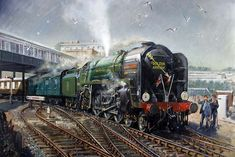 Crossing the Forth - Railway Art Gallery: Terence Cuneo Southern Trains, Uk Rail, Steam Art, Old Steam Train, Steam Railway, Train Art, Railway Posters, British Rail, Train Pictures