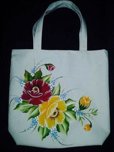 Best 12 Rose Embroidery on Shoping Bag – SkillOfKing. Fabric Painting On Clothes, T Shirt Painting, One Stroke Painting, Painted Clothes, Tole Painting, Hand Painted Dress, Hand Painted Canvas, Fabric Paint Designs, Painted Bags