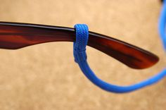 "Paracord Sunglass strap....made by using the ""eye splice"" method.....http://www.instructables.com/id/How-to-Eye-Splice-Paracord/"