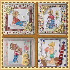 Plaatjes uit een kleurboekje van Elisabeth Bell. Paperblok country life. Stansen gebruikt van Joy en Marianne design.