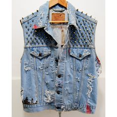 Vintage Levis Denim Cut of Vest super distressed with studs and Spikes... ($250) ❤ liked on Polyvore