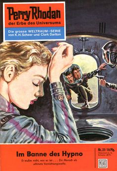 """Perry Rhodan - No. 27: In The Thrall of Hypno - by Clark Darlton: Cover artwork by """"Johnny"""" Bruck: Was US issue 20 and called: The Thrall of Hypno"""""""