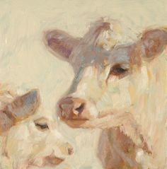 "Angel and her Calf oil painting  6"" x 6"" www.nancybassartist.com"