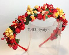 Red Folk Floral Hairband Flower crown Headband Wedding celebration Fashion bride hair Vintage accessories  green orange yellow spring by TAISdesign on Etsy