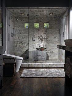 120 Elegant and Modern Bathroom Shower Tile Master Bath 66 Bad Inspiration, Bathroom Inspiration, Bathroom Ideas, Bathroom Showers, Bathroom Spa, Stone In Bathroom, Bathroom Interior, Bathroom Lighting, 1950s Bathroom