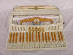 White vintage accordion