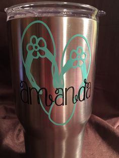 Personalized Flip Flop Decal for yeti cup, tumbler, coffee mug, wine glass, car window, laptop, cell phone/tablet case, boat, ice chest by AmandasDesigns05 on Etsy https://www.etsy.com/listing/272217174/personalized-flip-flop-decal-for-yeti