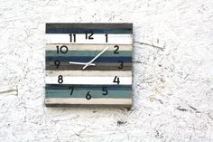 Reclaimed Wood Clock. Beach House style. Striped. Gray Blue