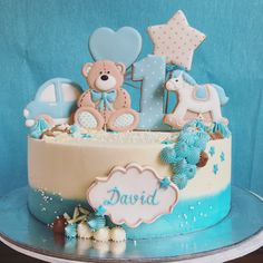 Teddy bear cake cookies toppers first birthday baby boy baby blue