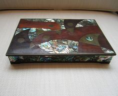 Rare Mid-Century Abalone Bird Box by Salvador Teran  HEIGHT:	1.38 in. (4 cm) WIDTH:	8.75 in. (22 cm) DEPTH:	5.88 in. (15 cm)