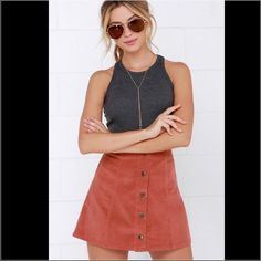 """Urban Outfitters BDG Mini skirt Brand new! Beautiful button front corduroy mini skirt. The color is not as the 1st pic. The true color is as the other pics. Its a brown rusty color!! Brand new with tags! Size 8, length 16"""", waist 14 1/2"""" Urban Outfitters Skirts Mini"""