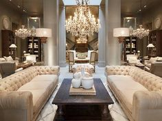 Soft glam living room. Double sofas