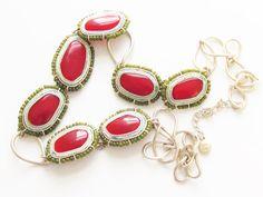 Vintage Liz Claiborne Red Modern Necklace by GrandVintageFinery
