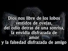Dios nos libre de los lobos vestidos de ovejas, del odio detrás de una sonrisa, la envidia disfrazada de amor y la falsedad disfrazada de amigo.