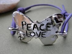 Butterfly Bracelet Jewelry Silver Leather Cord by rockmyworldinc, $144.99