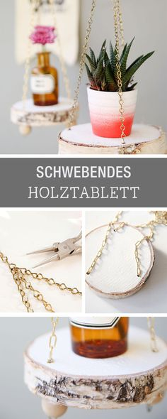 DIY-Anleitung für ein schwebendes Holztablett aus einer Baumscheibe, DIY Holz / diy tutorial for a floating tablet made of a tree slice, diy with wood via DaWanda.com