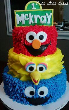 @Becky Hui Chan Hui Chan Fleischauer Elmo, Big bird and Cookie monster cake. Izzy likes this cake idea.