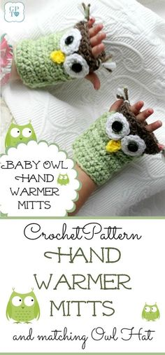 Adorable crochet owl hand mitts are so cute. Pattern for making mitts and matching hat to keep little ones warm and cozy.