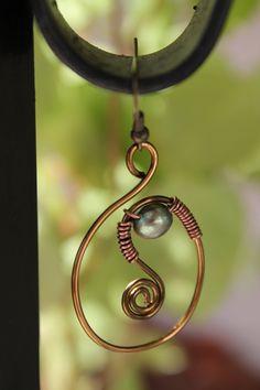 Wire earrings, pearl earrings, wire wrapped jewelry handmade. $12.00, via Etsy.