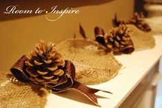 Burlap and pine cone garland. Simple, rustic Christmas. (I might would add berry sprigs...