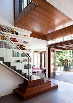 bookcase going up the stairs - space efficient