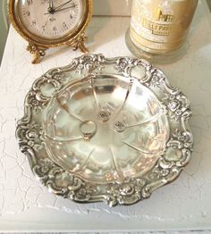 Vintage Small Silver Tray Bowl Candy Dish Towle Trinket Dish Metal Silverplated Tray Embossed with Roses Flowers and Scrolls Serving Dish by HouseofLucien